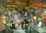 July Painting Prints - Ball on the 14th July Print by Theophile Alexandre Steinlen
