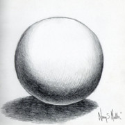 Form Drawings Posters - Ball with Shadow Poster by Nancy Mueller