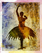 Professional Mixed Media Prints - Ballerina 1 with border Print by Angelina Vick