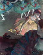 France Pastels Framed Prints - Ballerina and Lady with a Fan Framed Print by Edgar Degas