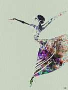 Silhouette Painting Metal Prints - Ballerina dancing watercolor Metal Print by Irina  March