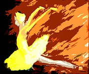 Ballerina Mixed Media Posters - Ballerina In A Yellow Dress Poster by Patrick J Murphy