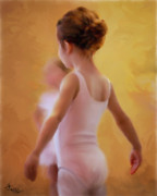 Little Girls Mixed Media Posters - Ballerina in Pink Poster by Colleen Taylor