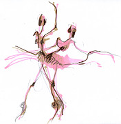 Tutu Mixed Media Posters - Ballerina In Pink Tutu Or Sugar Plum Poster by Lousine Hogtanian