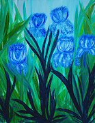 Pm Ernst Painting Prints - Ballerina Irises Print by Pm Ernst