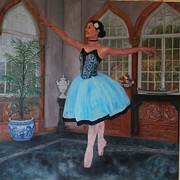 Point D Painting Acrylic Prints - Ballerina On Toe  Acrylic Print by   Phyllis Barrett