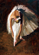 White Dress Painting Prints - Ballerina with pink shoes Print by Roelof Rossouw