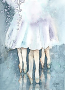 Ballerina Mixed Media Framed Prints - Ballerinas Framed Print by Arline Wagner