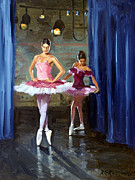 Ballerinas Painting Posters - Ballerinas Backstage Poster by Roelof Rossouw