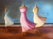Dresses Pastels Prints - Ballerinas Dancing in the Storm Print by Ellen Minter