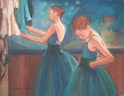 Ballerinas Pastels Metal Prints - Ballerinas in Blue Backstage Metal Print by Diane Caudle