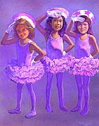 Children Pastels Framed Prints - Ballerinas Framed Print by Valerian Ruppert