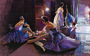 Ballet Pastels Framed Prints - Ballet Behind the Scenes Framed Print by Yuriy  Shevchuk