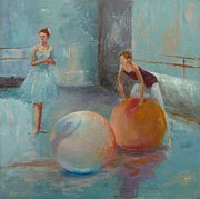 Ballet Dancers Painting Prints - Ballet Class with Balls Print by Irena  Jablonski