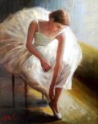 Italian White Poppy Paintings - Ballet dancer by Vincenzo Depaoli