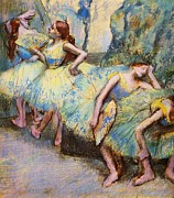 Ballet Dancers Paintings - Ballet Dancers in the Wings by Pg Reproductions