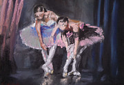 Rehearsal Pastels Posters - Ballet Dancers Warming Up Poster by Paul Mitchell