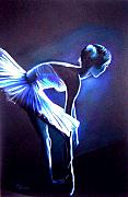Dancer Drawings Framed Prints - Ballet in Blue Framed Print by L Lauter