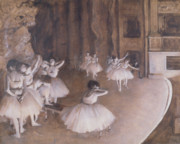 Ballerinas Painting Posters - Ballet Rehearsal on the Stage Poster by Edgar Degas