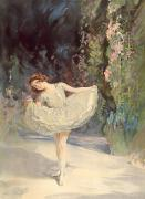 Pink Floral Paintings - Ballet by Septimus Edwin Scott