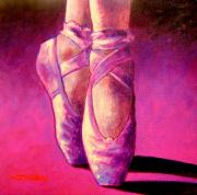Tutu Painting Posters - Ballet Shoes  II Poster by John  Nolan