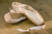 Ribbons Posters - Ballet shoes Poster by Jane Rix