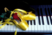 Dance Ballet Roses  Photo Prints - Ballet shoes on piano keys Print by Garry Gay