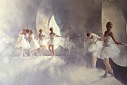 White Tapestries Textiles Prints - Ballet Studio  Print by Peter Miller