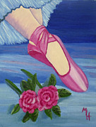 Dance Ballet Roses Painting Posters - Ballet Toe Shoes for Madison Poster by Margaret Harmon