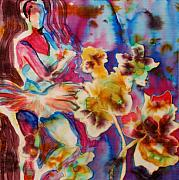 Silk Painting Originals - Ballet With Orchids by Beena Samuel