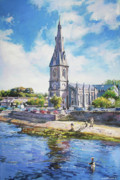 Reflections In River Prints - Ballina Cathedral on River Moy Print by Conor McGuire