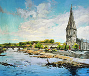 Salmon Painting Posters - Ballina On The Moy 11 Poster by Conor McGuire