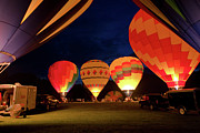 Balloon Fest Framed Prints - Ballons at Night Framed Print by David Hahn