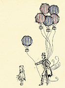 Ink Mixed Media Prints - Ballons for Sale Print by William Addison