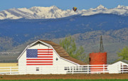 Colorado Flag Photos - Balloon Barn and Mountains by Scott Mahon