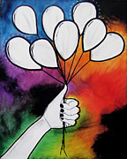 Illustrative Mixed Media Prints - Balloon Canvas Print by Sarah Stonehouse