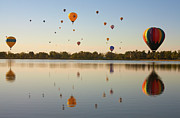 Mid-air Photo Framed Prints - Balloon Festival Framed Print by Lightvision, LLC