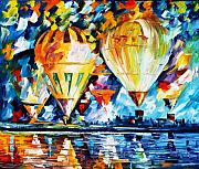 Park Painting Originals - BALLOON FESTIVAL new by Leonid Afremov