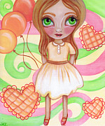 Party Birthday Party Metal Prints - Balloon Girl Metal Print by Jaz Higgins