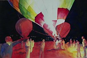 Balloon Fiesta Paintings - Balloon Glow by Celene Terry