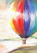 Flight Pastels Posters - Balloon lightscape Poster by Jacqui Mckinnon