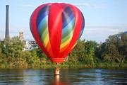 Great Falls Balloon Festival Framed Prints - Balloon On the Water Framed Print by Alan Holbrook