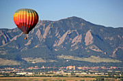 Cu Boulder Framed Prints - Balloon Over Flatirons and CU Framed Print by Scott Mahon