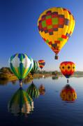 Hot-air Balloon Posters - Balloon Reflections Poster by Mike  Dawson