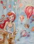 Hot Air Balloon Painting Posters - Balloon Ride Poster by Jenna Fournier