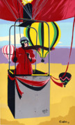 Stylized Paintings - Ballooning balloons balloonists 1980s 80s original pop art nouveau painting print red yellow retro  by Walt Curlee