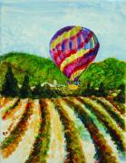 Wineries Painting Prints - Ballooning over Mondavi Print by Shelley Capovilla