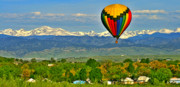 Ballooning Posters - Ballooning Over The Rockies Poster by Scott Mahon
