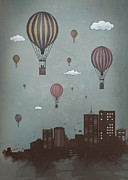 Skyscraper Digital Art - Balloons And The City by Balazs Solti