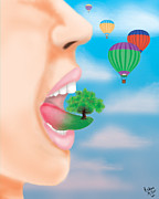 Youthful Digital Art - Balloons by Ashley Miller